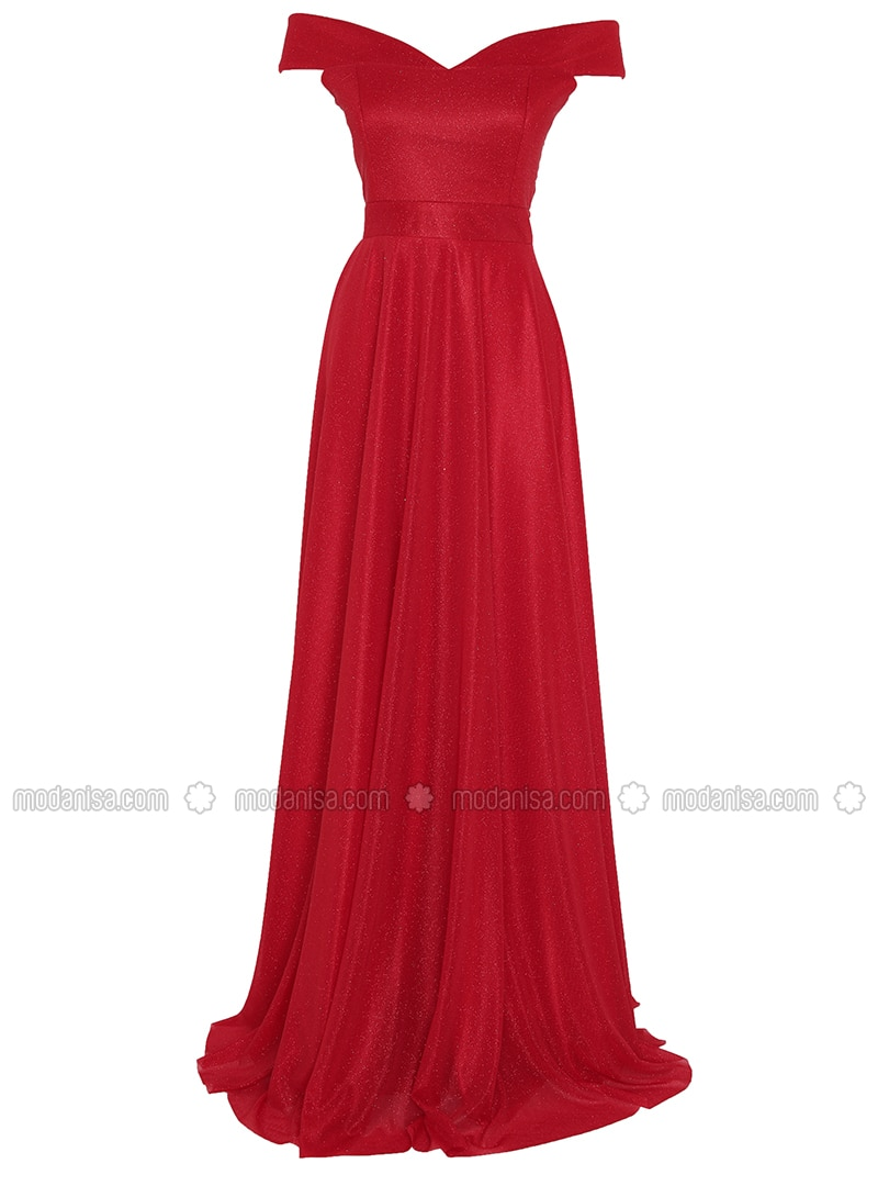 Red - Fully Lined - Boat neck - Muslim Evening Dress