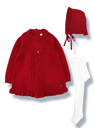 Polo neck -  - Wool Blend - Red - Baby Dress - BY LEYAL