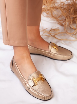 Flat - Casual - Gold - Casual Shoes