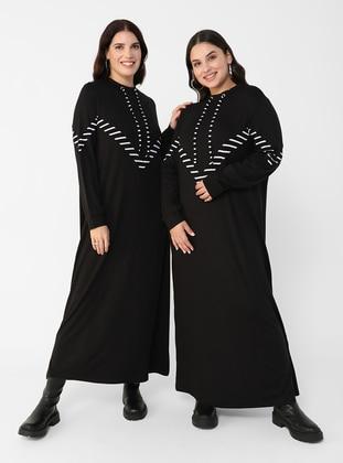 Oversize Natural Fabric Eyelet Collar Dress - Black White