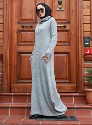 Gray - Acrylic -  - Knit Dresses