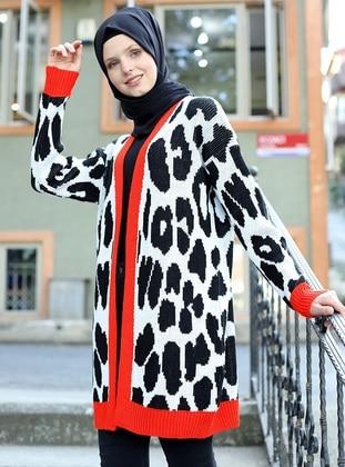 Ecru - Leopard - Unlined - Acrylic - - - Knit Cardigans - Por La Cara