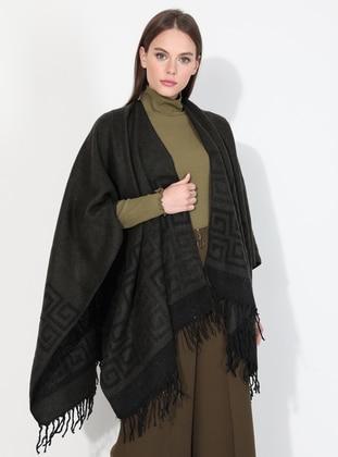 Acrylic -  - Khaki - Printed - Shawl Wrap