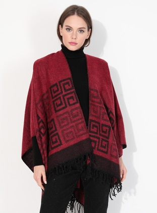 Acrylic -  - Red - Printed - Shawl Wrap