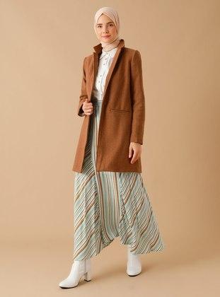 Cinnamon - Plaid - Fully Lined - Shawl Collar -  - Coat