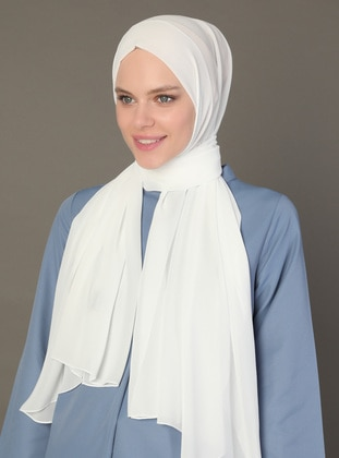White - Ecru - Plain - Shawl