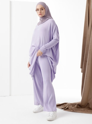 Lilac - Acrylic -  - Wool Blend - Knit Pants - Phull