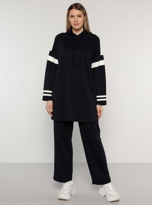 Ecru - Navy Blue - Unlined -  - Plus Size Suit