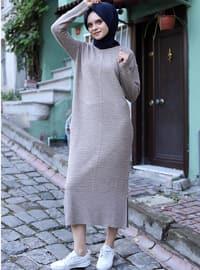 Mink - Unlined - Crew neck - Acrylic - - Knit Dresses