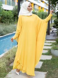 Yellow - Unlined - Crew neck - Abaya
