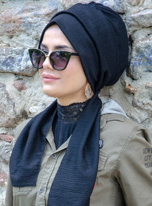 Black - Plain -  - Instant Scarf