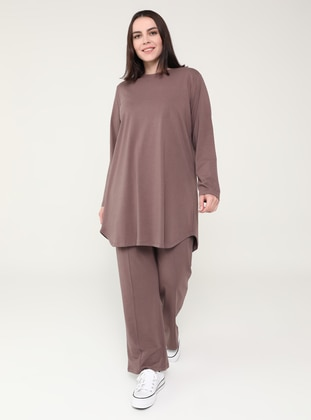 Purple - Crew neck - Plus Size Tracksuit Sets