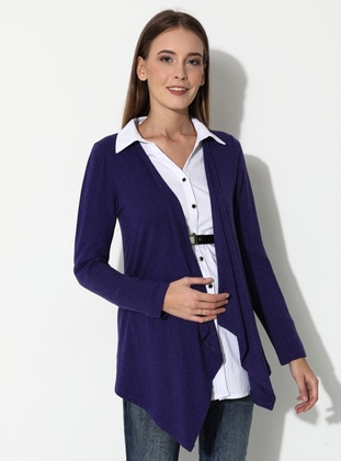 Purple - Point Collar - Viscose - Maternity Tunic