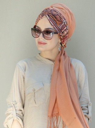Copper - Printed -  - Viscose - Shawl