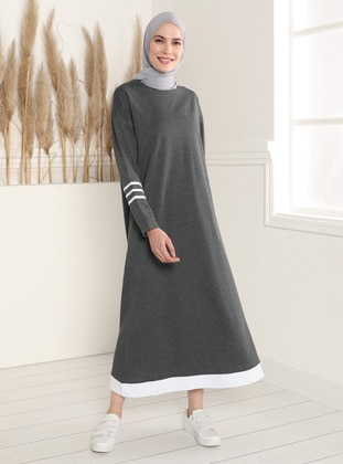 Sleeves Stripe Detailed Dress - Anthracite