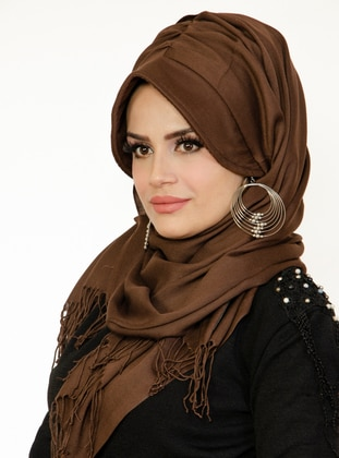 Brown - Plain - - Viscose - Shawl