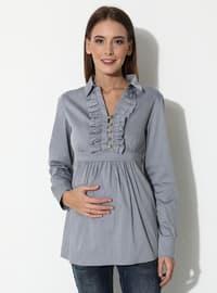 Gray -  - Point Collar - V neck Collar - Maternity Blouses Shirts
