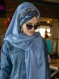 Blue - Plain -  - Viscose - Shawl