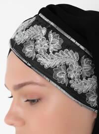 White - Black - Plain - Instant Scarf