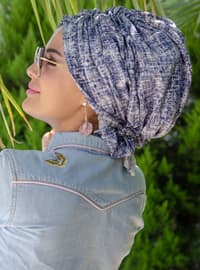 Blue - Printed - - Instant Scarf