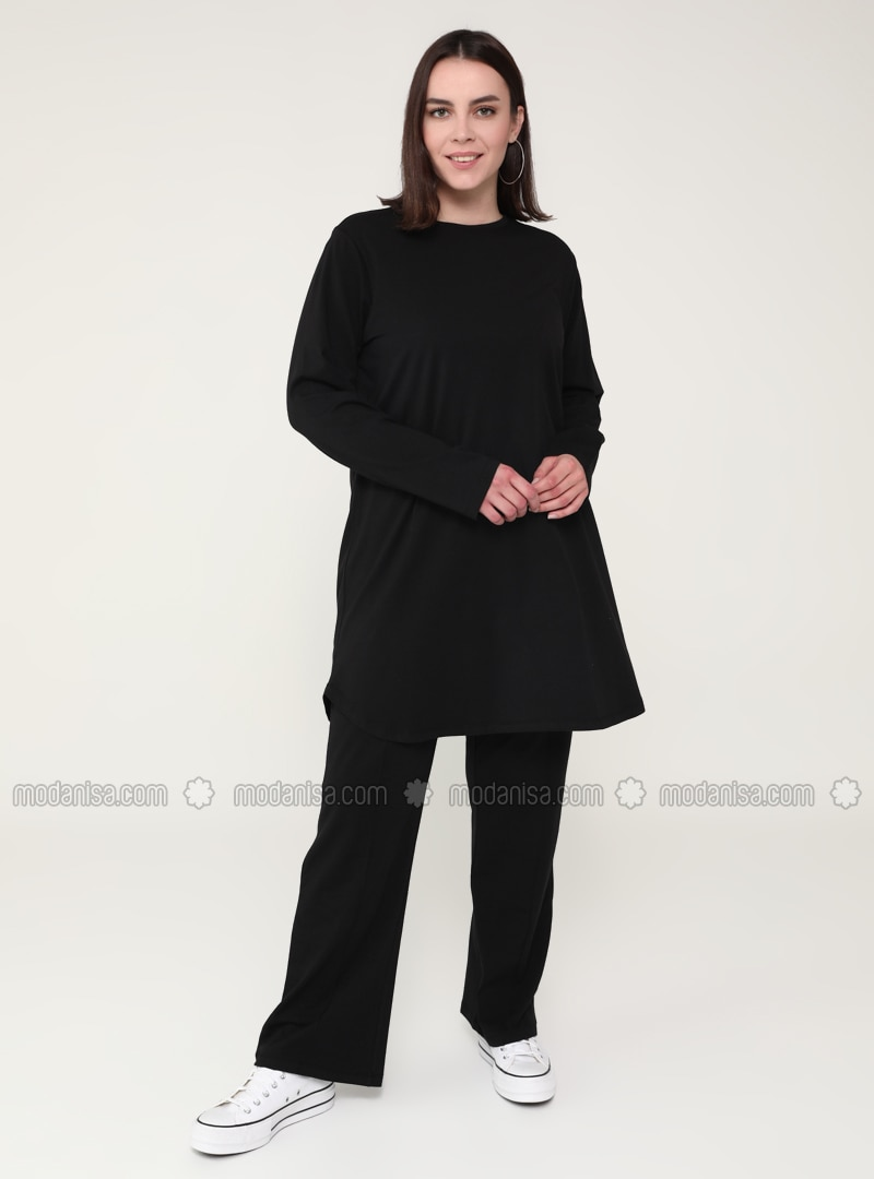 Black - Crew neck - Plus Size Tracksuit Sets