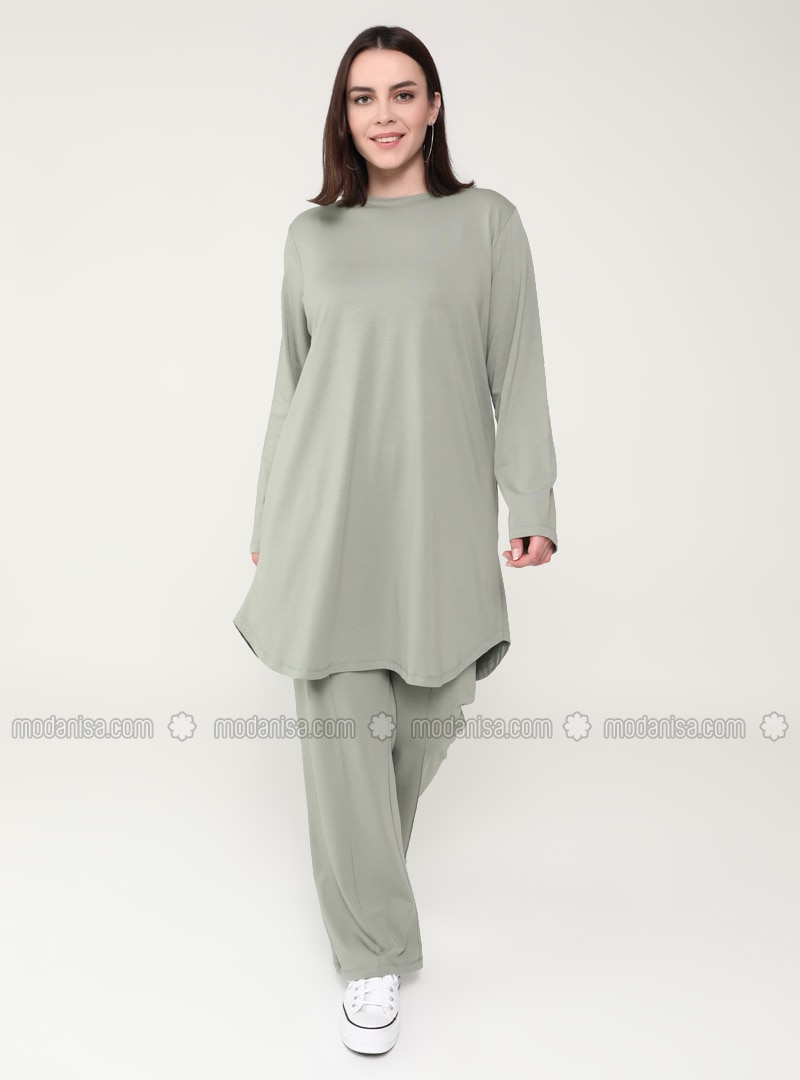 Olive Green - Crew neck - Plus Size Tracksuit Sets