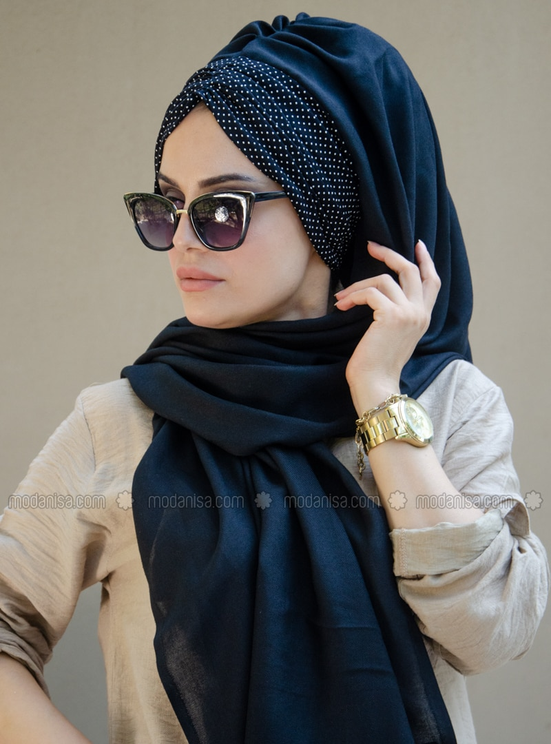 Black - Plain -  - Viscose - Shawl