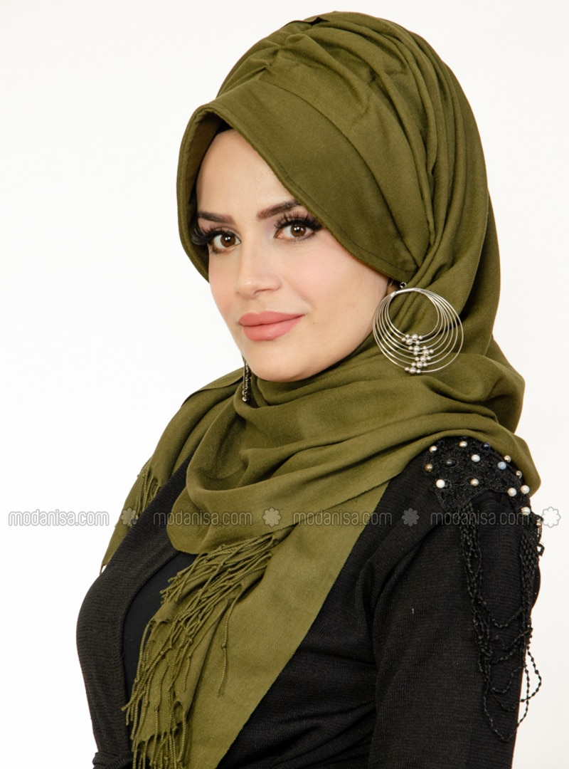 Khaki - Plain -  - Viscose - Shawl