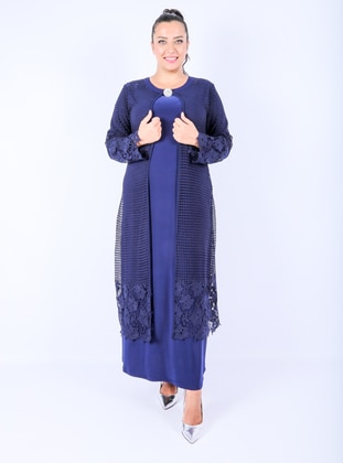 Navy Blue - Unlined - Crew neck -  - Muslim Plus Size Evening Dress