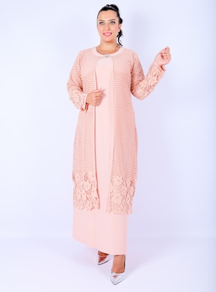 Powder - Unlined - Crew neck -  - Muslim Plus Size Evening Dress