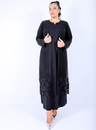 Black - Unlined - Crew neck -  - Muslim Plus Size Evening Dress