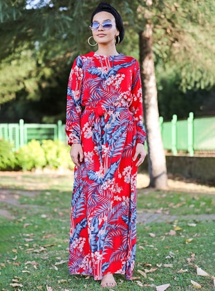 Red - Multi - Crew neck - Unlined - Viscose - Dress