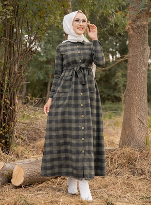 Khaki - Plaid - Point Collar - Unlined -  - Dress - Tofisa