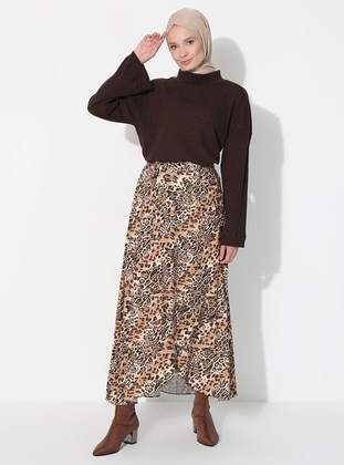 Brown - Leopard - Unlined - Skirt