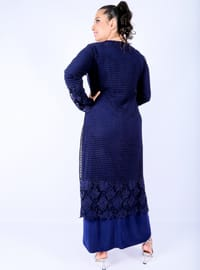 Navy Blue - Unlined - Crew neck -  - Muslim Plus Size Evening Dress