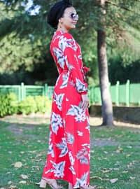 Red - Multi - Crew neck - Unlined - Viscose - Dress
