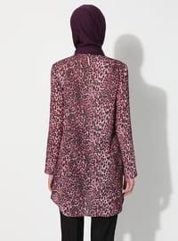 Pink - Leopard - Crew neck - Tunic