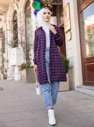 Red - Saxe - Plaid - Point Collar -  - Tunic