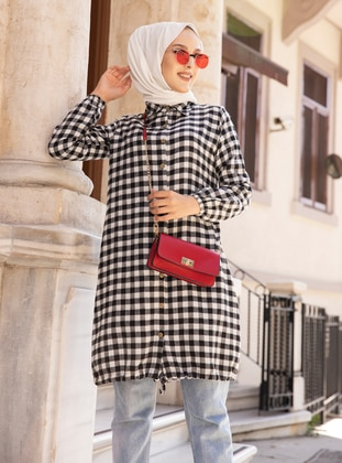 White - Ecru - Black - Plaid - Point Collar -  - Tunic - Tofisa