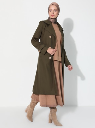 Khaki - Fully Lined - V neck Collar - Trench Coat