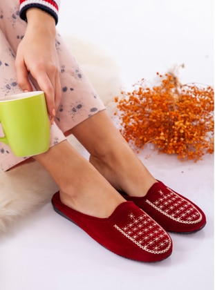 Sandal - Maroon - Home Shoes - Ayakkabı Havuzu