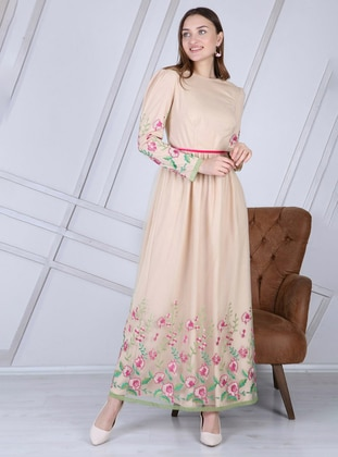 Beige - Nude - Floral - Fully Lined - Crew neck - Modest Evening Dress