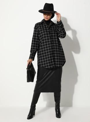 Black - Checkered - Unlined - V neck Collar - - Jacket