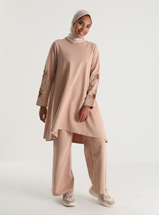 Embroidered Sleeve Tracksuit Set - Mink - Woman