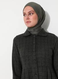 Khaki - Checkered - Unlined - Point Collar - Acrylic - - Topcoat