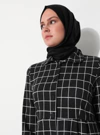 White - Black - Checkered - Unlined - Point Collar - Acrylic - - Topcoat