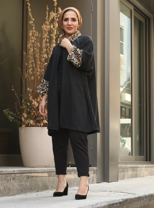 Black - Leopard - Point Collar - Unlined -  - Poncho