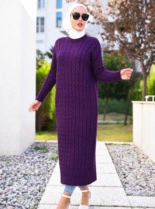 Purple - Crew neck - Unlined - Knit Tunics