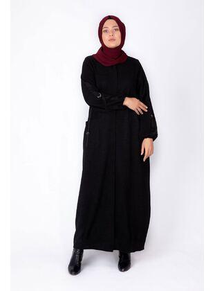Black - Plus Size Evening Abaya