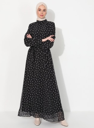 Black - Floral - Crew neck - Fully Lined - Dress
